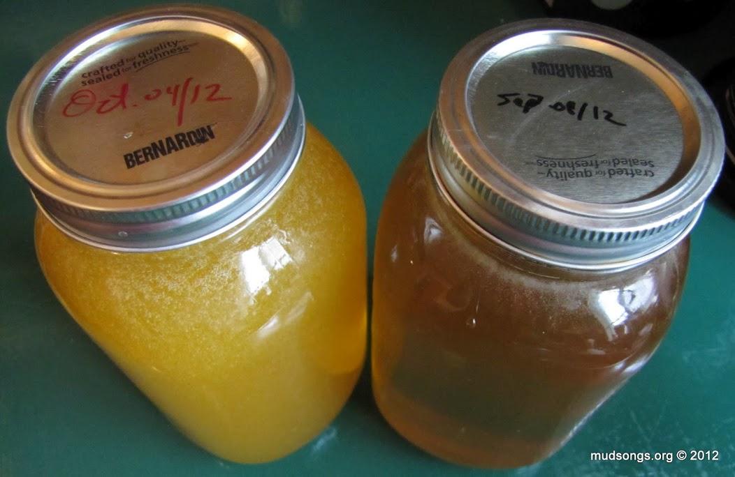 Huckleberry honey from September and Goldenrod honey harvested in October.