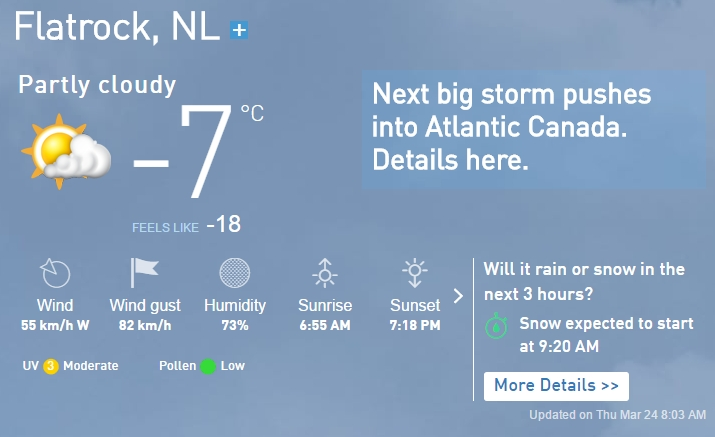Newfoundland weather report for March 24th, 2016.